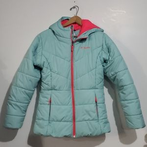 Columbia Blue & Pink Puffer Coat Size XL